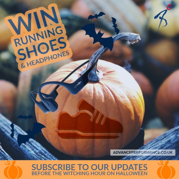 Win running shoes and AfterShokz headphones